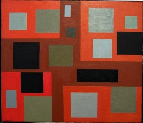 #1 Towards a Paradox, 1969, oil on canvas, 19 x 22 in. by Alice Trumbull Mason