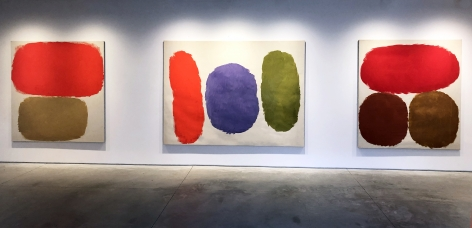 (from left) Untitled, 1966, oil on canvas, 67 1/2 x 64 in., Untitled, 1958, oil on canvas, 69 x 92 5/8 in., Untitled, 1959, oil on canvas, 69 1/4 x 62 3/4 in.