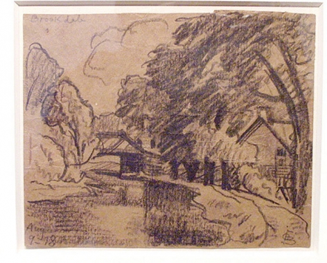 Brookdale, 1918, conte crayon on paper, 4 1/8 x 7 in.