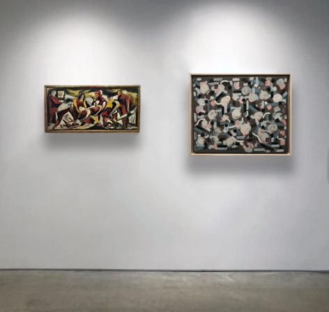 No. 1 (From left) JACKSON POLLOCK,Deposition,c. 1930-36, oil on canvas, 7 1/2 x 16 in. CR7