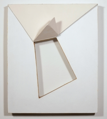 "Charles Hinman, ""Suffolk,"" 2005, acrylic on non-woven acrylic fiber on wood with plexiglass, 17 x 14 x 10 in."
