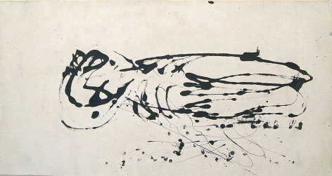 Jackson Pollock, Untitled (Black and White Painting I), c. 1951, black paint on canvas, 19 1/2 x 36 1/2 in., CR#325