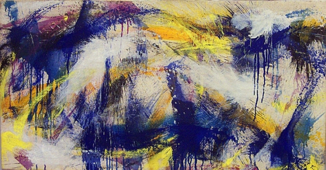 """Norman Bluhm, """"Northern Light,"""" 1959, oil on canvas, 20 x 37 3/4 in."""