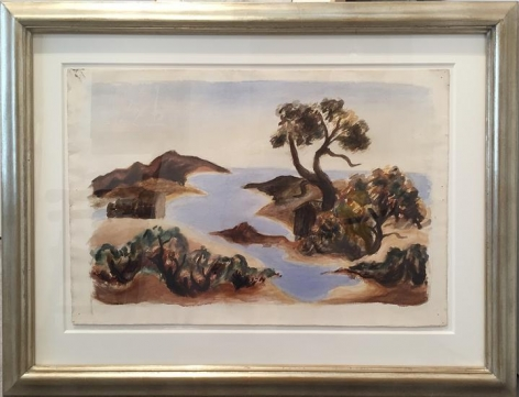 Vineyard Inlet with Tree, c. 1934-38, watercolor on paper, 15 1/2 x 22 3/4 in., CR932