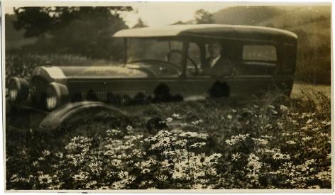 Car in Flowers, 1920s, 2 3/4 x 4 3/ 4 in.