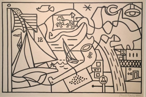 Stuart Davis, Study for Men without Women, Radio City Music Hall, New York, 1932, ink and pencil on paper, 12 x 17 1/2 in.