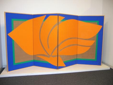 "Jack Youngerman, ""Fire/Orange II,"" 1978, acrylic on linen, four panel folding screen, 72 x 144 in."