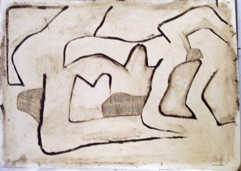 Conrad Marca-Relli, Untitled #8, F.119, 1962, oil and collage on paper, 19 3/4 x 27 1/2 in.