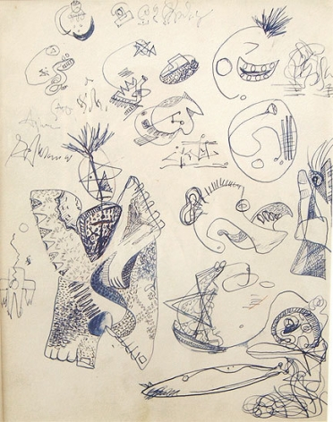 Untitled, c. 1939-42, pen and blue ink with touches of brown crayon on paper, 13 x 10 3/8 in. CR 578 (recto)
