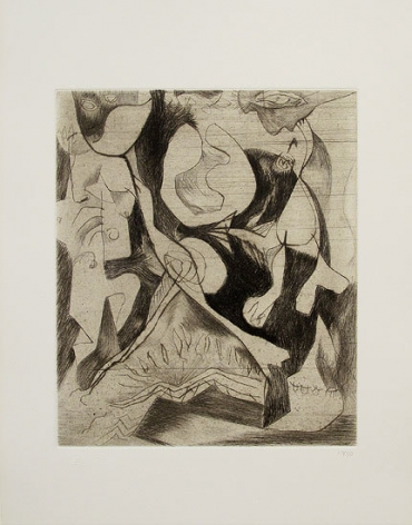 Untitled, 1071 (P13), c. 1944, printed 1967, engraving and drypoint on white Italia paper, ed. 13/50, Sheet: 20 x 13 5/8 in, Image: 11 7/8 x 9 15/16 in.