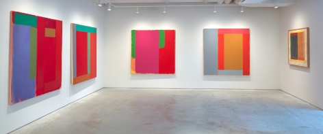 (From left) Untitled, 1987, acrylic on canvas, 62 x 60 in.,Germantown Red,1984, acrylic on canvas, 62 x 60 in.,Lost Child,1986, acrylic on canvas, 60 x 60 in.,Untitled, 1984, acrylic on canvas, 60 x 62 in., Untitled, acrylic on paper, 38 x 41 (sheet), 40 1/2 x 45 5/8 in. (framed)