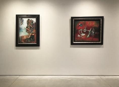 (From Left)Arcimboldo, 1945, oil on canvas, 30-1/8 x 20-1/8 in.,Á la Recherche de l'Or, 1945, oil on canvas, 25 x 29-7/8 in.