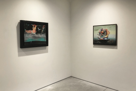 (From Left) La Naissance du Coq, 1945, oil on canvas, 19-3/4 x 23-3/4 in.,Bateau Ivre, 1942, oil on canvas, 20 x 24 in.