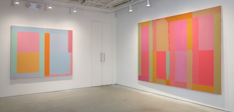 (From Left)Cool Blue, 1981, oil and acrylic on canvas, 60 x 72 in.,Harlequin,1983, acrylic on canvas, 76 x 104 in.,