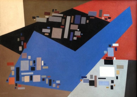 """""""Small Forms Serving Against Large,"""" 1949, oil on panel, 26 ¼ x 36 ¼ in."""