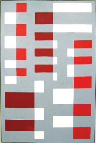 """Leon Polk Smith, """"Gray Columns,"""" 1947, oilon masonite, 72 x 48 in."""