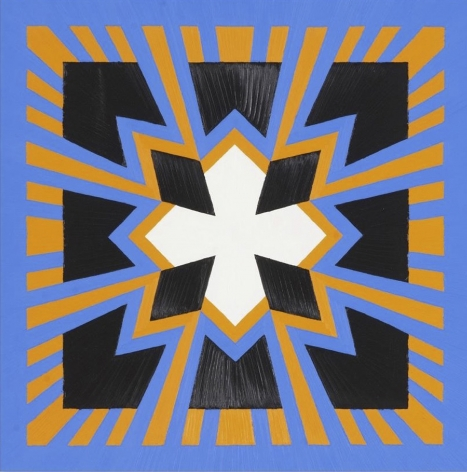 "Jack Youngerman, ""Orangeblue, 2014, oil on Baltic birch plywood, 30 x 30 in."