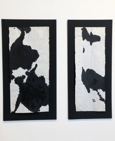 Left to right, #22, November, 1960, Sumi ink on Japanese paper, 18 x 8 1/4 in.