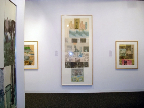 "(From Left) Robert Rauschenberg, ""Damper,"" 1980, solvent transfer and fabric collage on paper, 22 1/4 x 30 1/2 in., ""Clover,"" 1980, solvent transfer and fabric collage on paper, 36 3/4 x 94 in., ""Table Talk for Tomlin,"" 1980, collage and mixed media, 22 1/2 x 30 1/2 in."