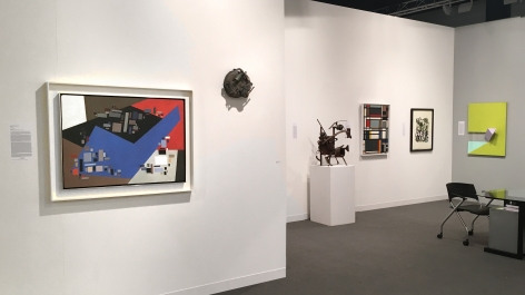 """(from left) Alice Trumbull Mason, """"Small Forms Serving Against Large,"""" 1949, oil on panel, 26 1/4 x 36 1/4 in., Richard Stankiewicz, """"On Schedule,"""" 1956, welded found metal objects, 10 x 10 x 5 3/4 in., Richard Stankiewicz, Untitled (1952-12), 1958, welded steel and forund metal objects, 29 1/4 x 23 3/4 x 18 in., Ilya Bolotowsky, """"City Rectangle,"""" 1948, oil on canvas, 34 x 26 in., Jackson Pollock, Untitled (After CR#333), 1951, screenprint, ed. 16/25, 29 x 23 in. CR1093 (P29), Charles Hinman, """"Ludlow,"""" 2008, acrylic on non-woven acrylic fiber on wood with plexiglass, 40 x 30 x 10 in."""