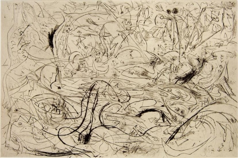 Jackson Pollock, Untitled, 1082 (P19), c. 1944-45, printed 1967, engraving and drypoint on white Italia paper, 19 13/16 x 27 1/4 in.