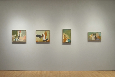 From RIght to Left:, Untitled, 1954,Oil on paper mounted on board,13 x 21 ¼ in.