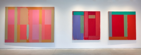 (From Left)Harlequin, 1983, acrylic on canvas, 76 x 104 in.,Untitled, 1987, acrylic on canvas, 62 x 60 in.,Germantown Red, 1984, acrylic on canvas, 62 x 60 in.