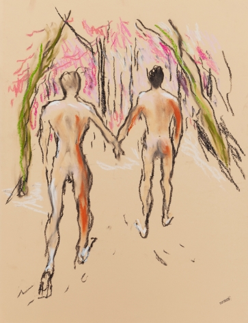 Drawing of two men holding hands by Richard Haines