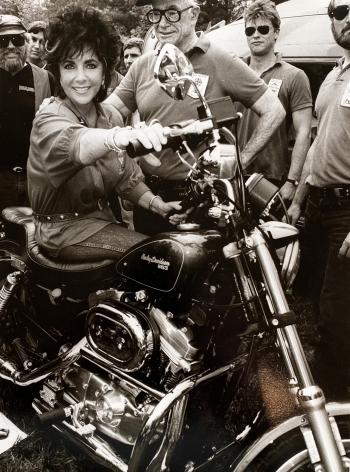 Christopher Makos, Elizabeth Taylor On Motorcycle