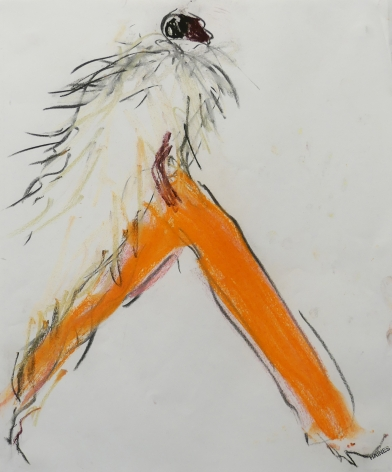 Drawing of woman in orange pants by Richard Haines