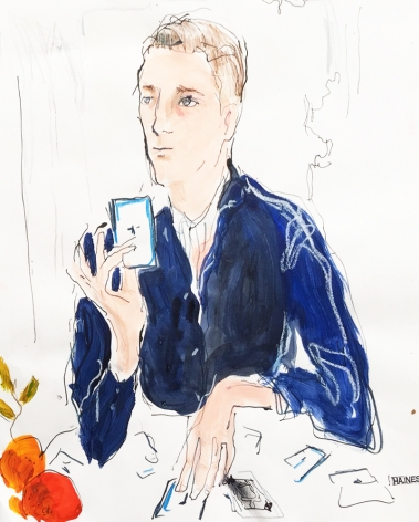Drawing of man playing cards by Richard Haines