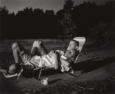 Two men in back yard by Stephen Barker