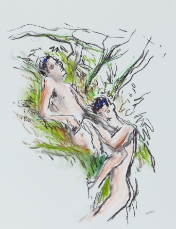Drawing of two men in forest by Richard Haines