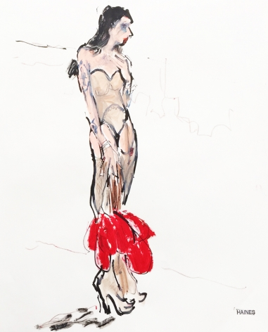 Drawing of woman with fan by Richard Haines