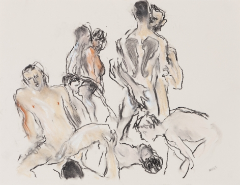 Drawing of orgy by Richard Haines