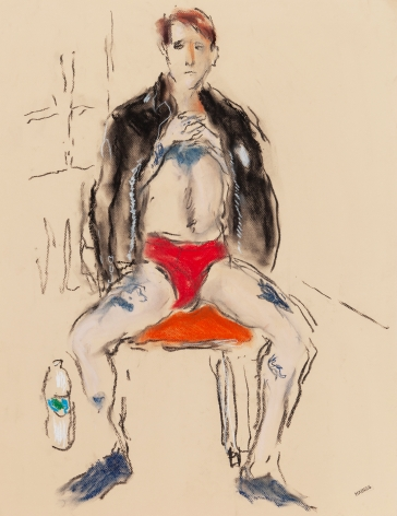 Drawing of man in red underwear by Richard Haines