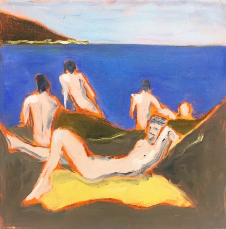 Painting of men at beach by Richard Haines