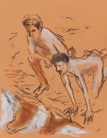 Drawing of two men on beach by Richard Haines