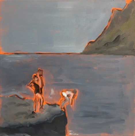 Painting of man diving by Richard Haines