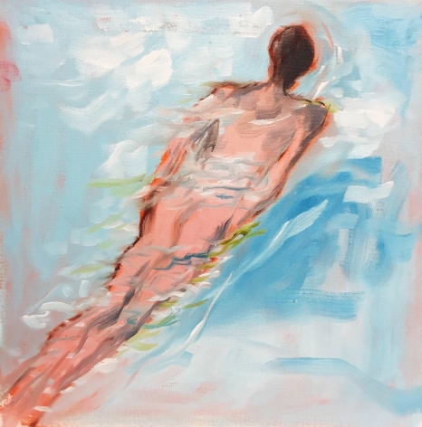 Painting of man swimming by Richard Haines