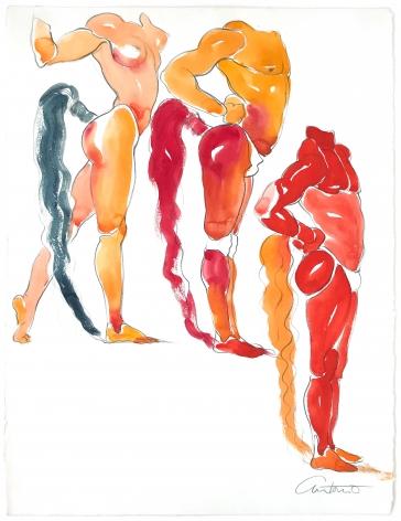 Drawing of three men by Antonio Lopez
