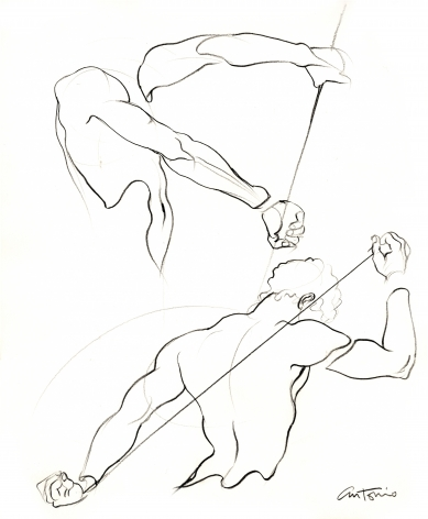 Drawing of athlete by Antonio Lopez