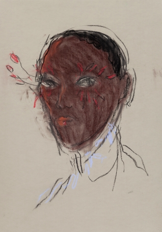 Woman with feather lashes by Richard Haines