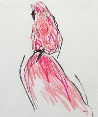 Drawing of woman in pink gown by Richard Haines