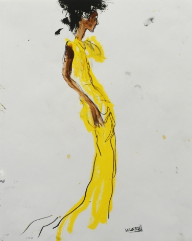 Drawing of thin woman in yellow gown by Richard Haines