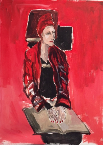 Painting of woman reading by Richard Haines
