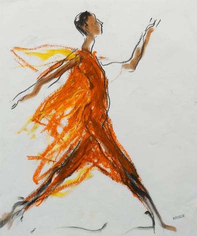 Drawing of woman in orange gown by Richard Haines