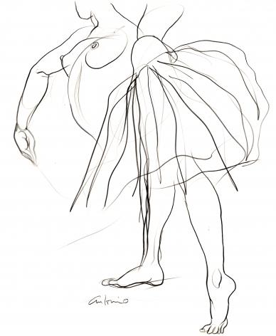 Sketch of dancer by Antonio Lopez