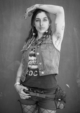 Woman with New Jersey tattoo by Michael Joseph