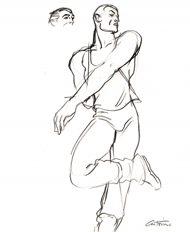 Drawing of male dancer by Antonio Lopez